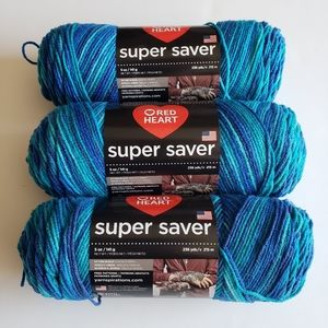 RED HEART Super Saver Yarn Lot of 3 Macaw